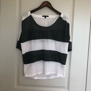 Lucca couture gray and white stripe shirt